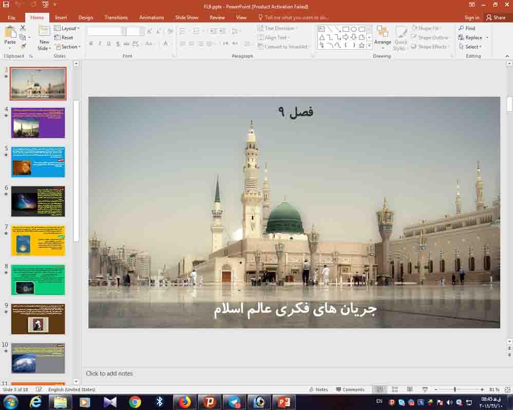 پاورپوینت فصل 9 فلسفه دوازدهم ( جریان های فکری عالم اسلام )