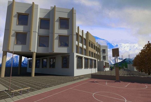 دانلود نقشه کامل مدرسه راهنمایی همراه با رندرهای تریدی مکس