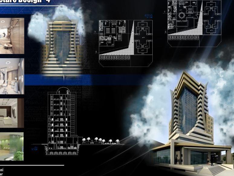 دانلود نقشه کامل برج مسکونی همراه با فایل تریدی مکس