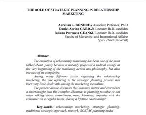 مقاله نقش برنامه ریزی استراتژیک در بازاریابی رابطه مند