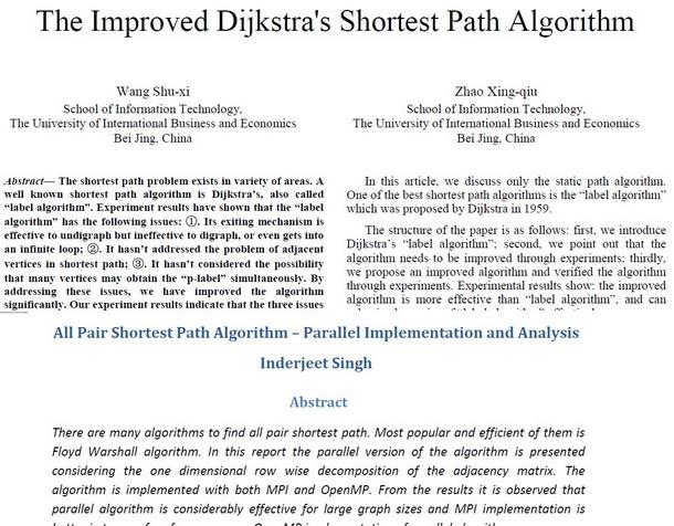 مقاله محاسبه کوتاهترین مسیر در گراف با پردازش