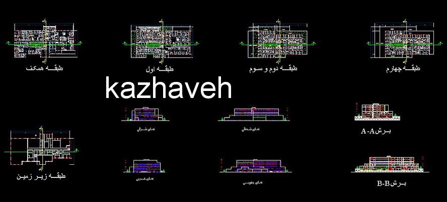 طرح نقشه اتوکد کامل بیمارستان چهر طبقه دانشجویی پلان طبقات نما برش با ریزفضاهای مختلف مربوطه