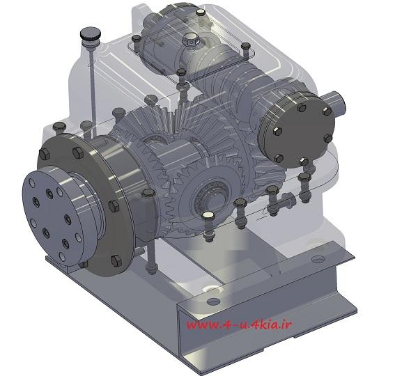 دانلود مدل سه بعدی قطعات جعبه دنده حلزونی و دیفرانسیل (worm gearbox with differential)