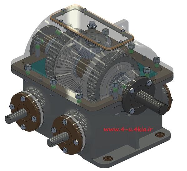 دانلود مدل سه بعدی قطعات جعبه دنده حلزونی با دیفرانسیل و دو محور ورودی ( worm gearbox with differential - two inputs )