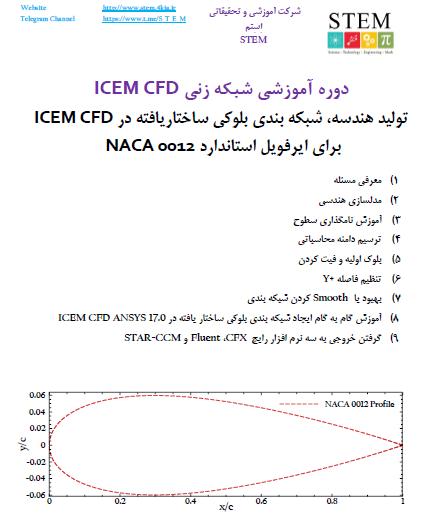 دوره آموزشی شبکه زنی ICEM CFD تولید هندسه، شبکه بندی بلوکی ساختاریافته در ICEM CFD برای ایرفویل استاندارد NACA 0012
