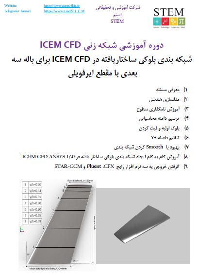 دوره آموزشی شبکه زنی ICEM CFD شبکه بندی بلوکی ساختاریافته در ICEM CFD برای باله سه بعدی با مقطع ایرفویلی