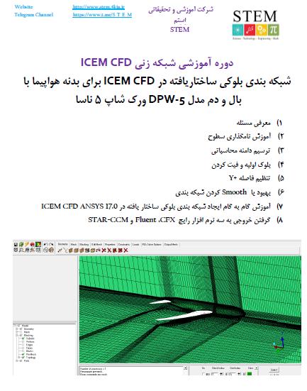 دوره آموزشی شبکه زنی ICEM CFD شبکه بندی بلوکی ساختاریافته در ICEM CFD برای بدنه هواپیما با بال و دم مدل DPW-5 ورک شاپ 5 ناسا