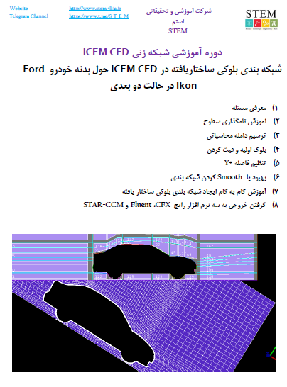 شبکه بندی بلوکی ساختاریافته در ICEM CFD حول بدنه خودرو Ford Ikon در حالت دو بعدی