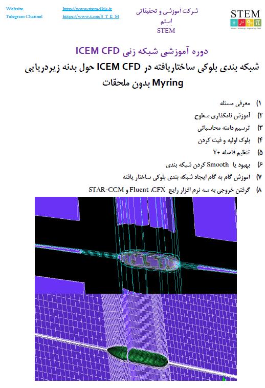 شبکه بندی بلوکی ساختاریافته در ICEM CFD حول بدنه زیردریایی Myring بدون ملحقات
