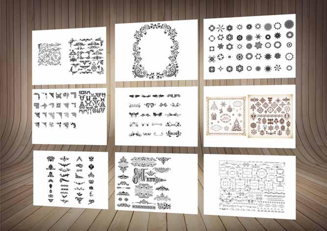چند حاشیه و طرح  تزئینی-ویژه طراحان لیزر-روی سنگ،شیشه،چوب و یا فلز-کرلCDR