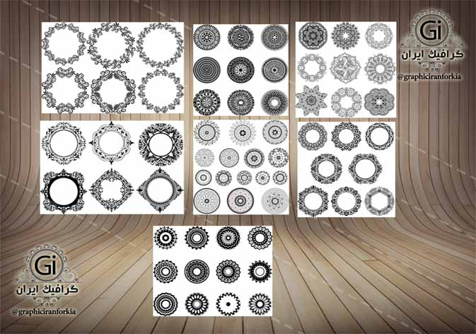 وکتور های جدید مدور  و دایره ای(65 طرح)-ویژه طراحان لیزر روی شیشه،چوب،سنگ و فلزAi-EPS-CDR