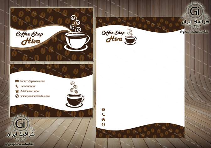 کارت ویزیت لایه باز کافی شاپ(2 رو)،به همراه طرح یادداشت-PSD-فتوشاپ
