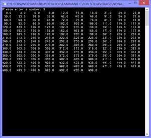 برنامه چاپ اعداد با فاصله های دلخواه