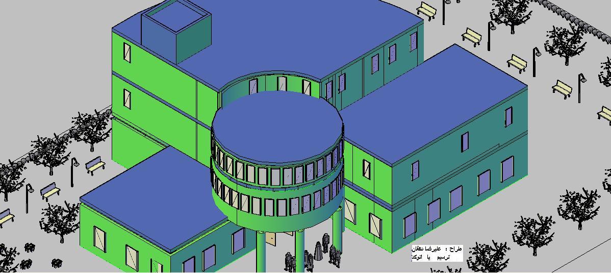 طراحی پلان معماری کتابخانه