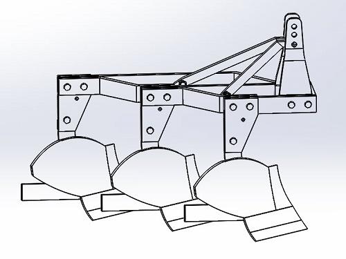 پروژه طراحی گاو آهن برگرداندار در سالیدورک - solid works