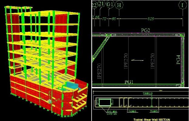 سازه فلزی با دیوار برشی (10 طبقه، نقشه و دتایل