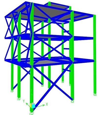 نقشه اجرایی و فایل محاسباتی ساختمان 3 طبقه فولادی (یک راستا قاب خمشی - یک راستا مهاربندی)