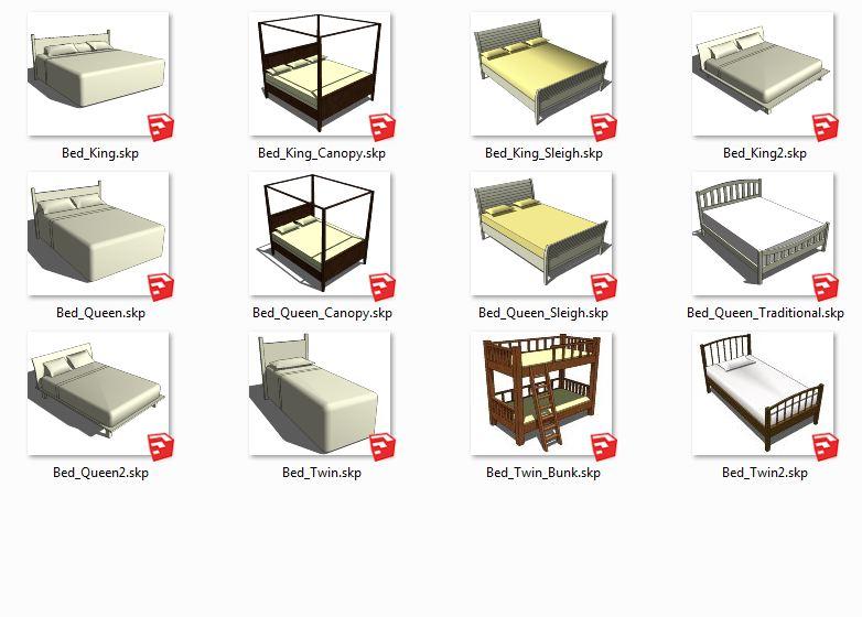 کامپوننت های اسکچاپ تخت خواب  Beds
