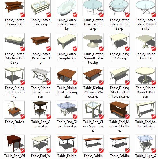 کامپوننت های اسکچاپ میز Tables