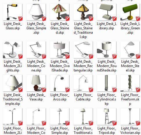 کامپوننت های اسکچاپ لامپ  Lighting_Interior