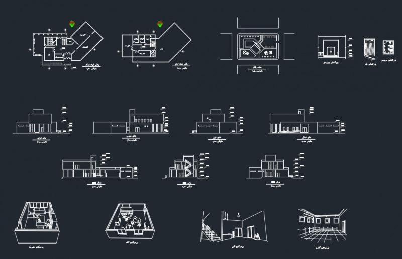 پروژه معماری سه طبقه نمایشگاه نمونه 3
