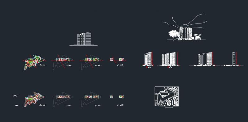 دانلود پروژه معماری طراحی یک هتل نمونه پنج نقشه اتوکدی
