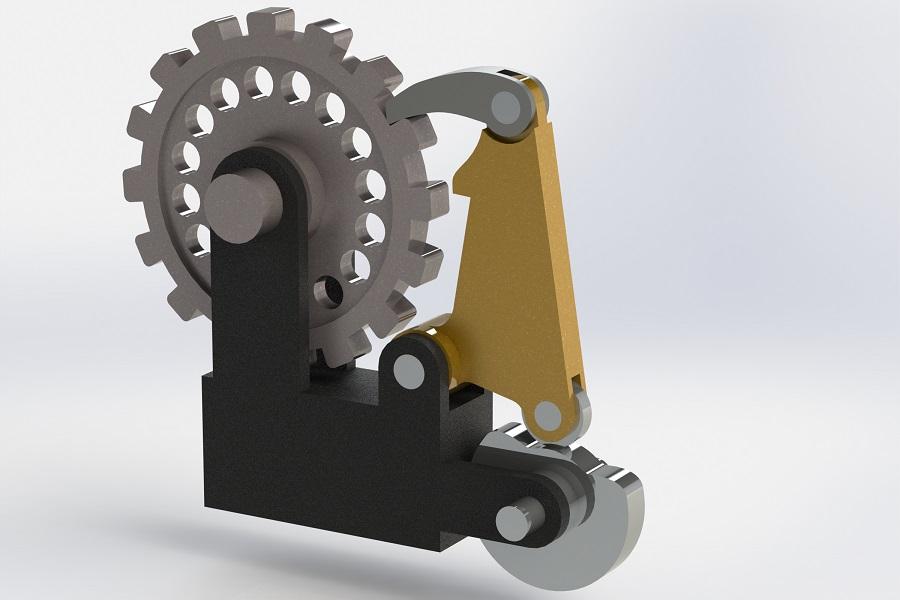 طراحی مکانیزم بادامک در نرم افزار سالیدورک(cam operated ratchet pawl)
