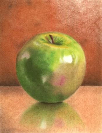 آموزش طراحی سیب سبز با مداد رنگی به زبان فارسی