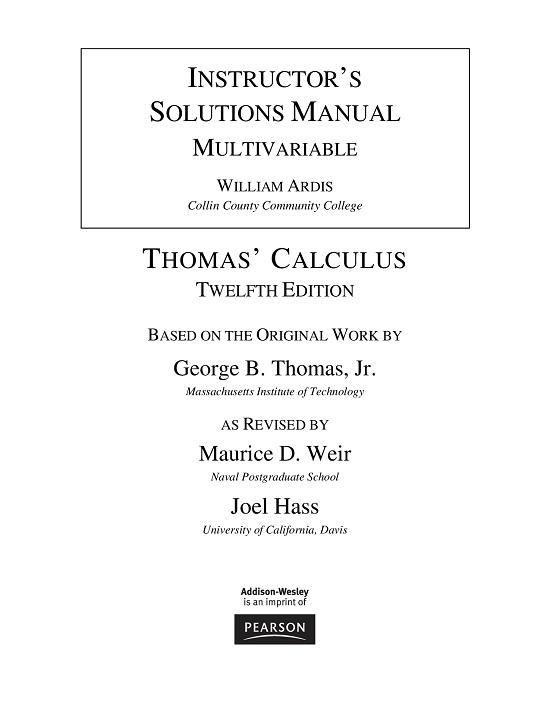 حل مسائل حساب دیفرانسیل و انتگرال چند متغیره (بخش دوم) تالیف جورج توماس به صورت PDF و به زبان انگلیسی در 439 صفحه