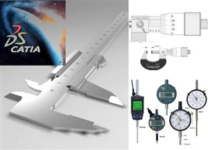 نقشه ابزارهای اندازه گیری به صورت کتیا همراه با تلرانس گذاری و کیفت گذاری شامل:کولیس. میکرومتر.ساعت اندازه گیری