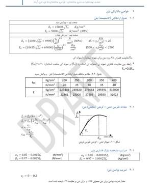 فرمولهای دسته بتدی شده مبحث9 بر اساس دو واحد n/mmو kg/cm