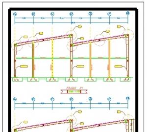 پلان وجزییات قاب سوله با دودهانه12 متر