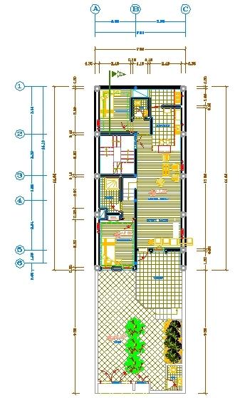 پلان ساختمان درب به حیاط  اسکلت بنایی دوطبقه 7.20 در14.65