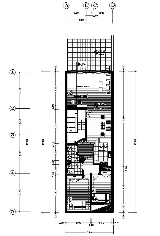 پلان در ب به حیاط 17.30*5.90 دو طبقه اسکلت فولادی