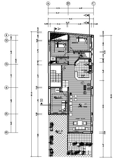 پلان درب به حیاط 8.5*23 اسکلت بنایی