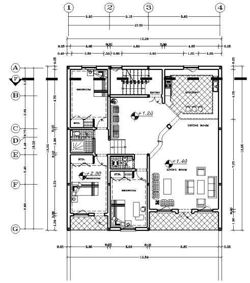 نقشه 12.5 بر و13.65 طول ساخت اسکلت فولادی سه خوابه