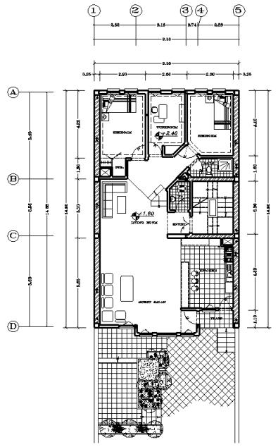 نقشه درب به ساختمان 9.10*14.90 سه خوابه