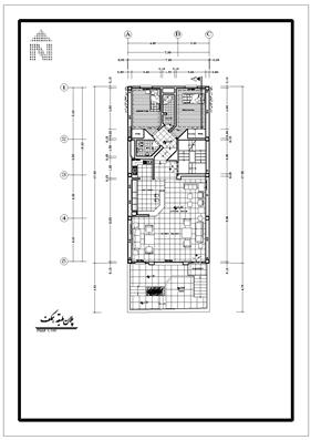 نقشه 8*17.20 جنوبی اسکالت بنایی با ستون فلزی در وسط
