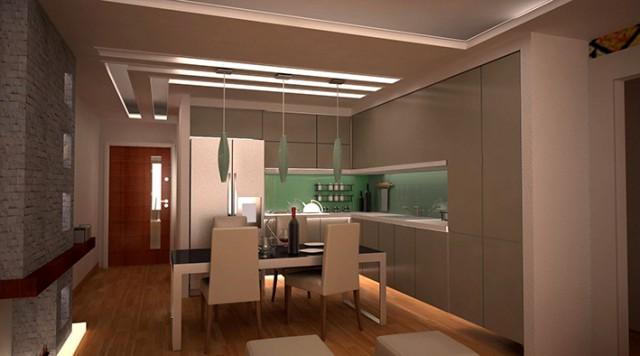 معماری داخلی-هال و آشپزخانه آپارتمان 70 متری مدرن 3d max +vray