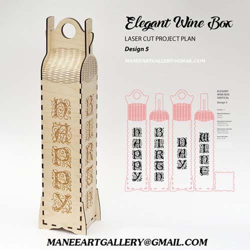 جعبه برای بسته بندی بطری طرح  5  . اسکرول ساو