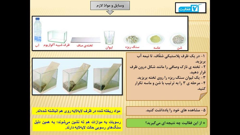 پاورپوینت آموزش درس ششم کتاب علوم تجربی پایه چهارم ابتدایی ( سنگ ها )
