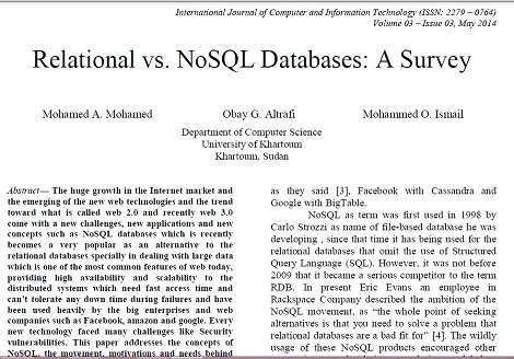 ترجمه مقاله انگلیسی : Relational vs. NoSQL Databases: A Survey