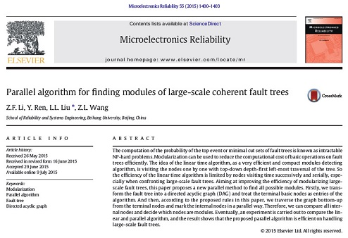 ترجمه مقاله Parallel algorithm for finding modules of large-scale coherent fault trees