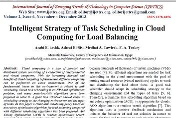 ترجمه مقاله انگلیسی با عنوان استراتژی هوشمند زمانبندی وظیفه برای تعادل بار در محاسبات ابری