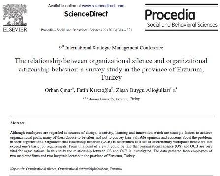 ترجمه مقاله انگلیسی : رابطه بین سکوت سازمانی و رفتار شهروندی سازمانی  یک بررسی پژوهشی در منطقه ارزروم ترکیه