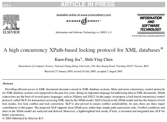 ترجمه مقاله انگلیسی:پروتکل قفل گذاری بر مبنای XPath، با همزمانی بالا برای پایگاه داده های XML