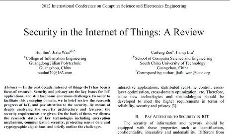 ترجمه مقاله انگلیسی:مروری بر مسئله امنیت در اینترنت اشیا