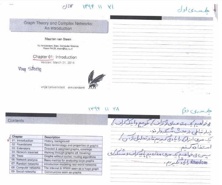 جزوه دستنویس دکتر محمدزاده - درس شبکه پیچیده پویا