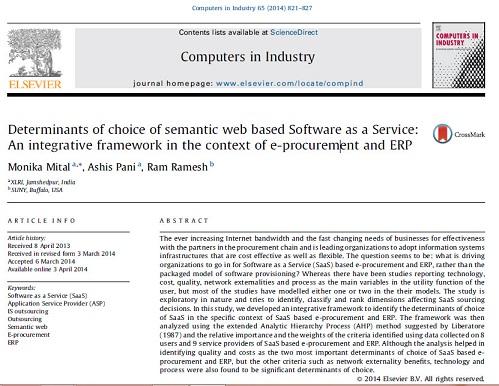 ترجمه مقاله انگلیسی: عوامل تأثیرگذار در انتخاب نرم افزار به عنوان یک سرویس مبتنی بر وب معنایی