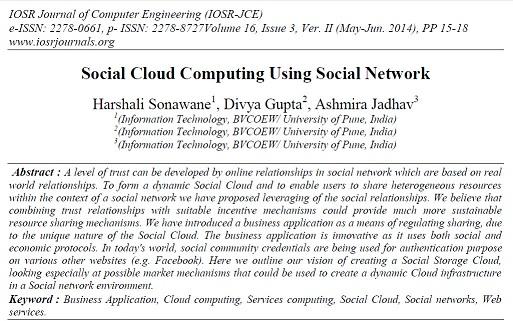 ترجمه مقاله انگلیسی: رایانش ابری اجتماعی با استفاده از شبکهی اجتماعی